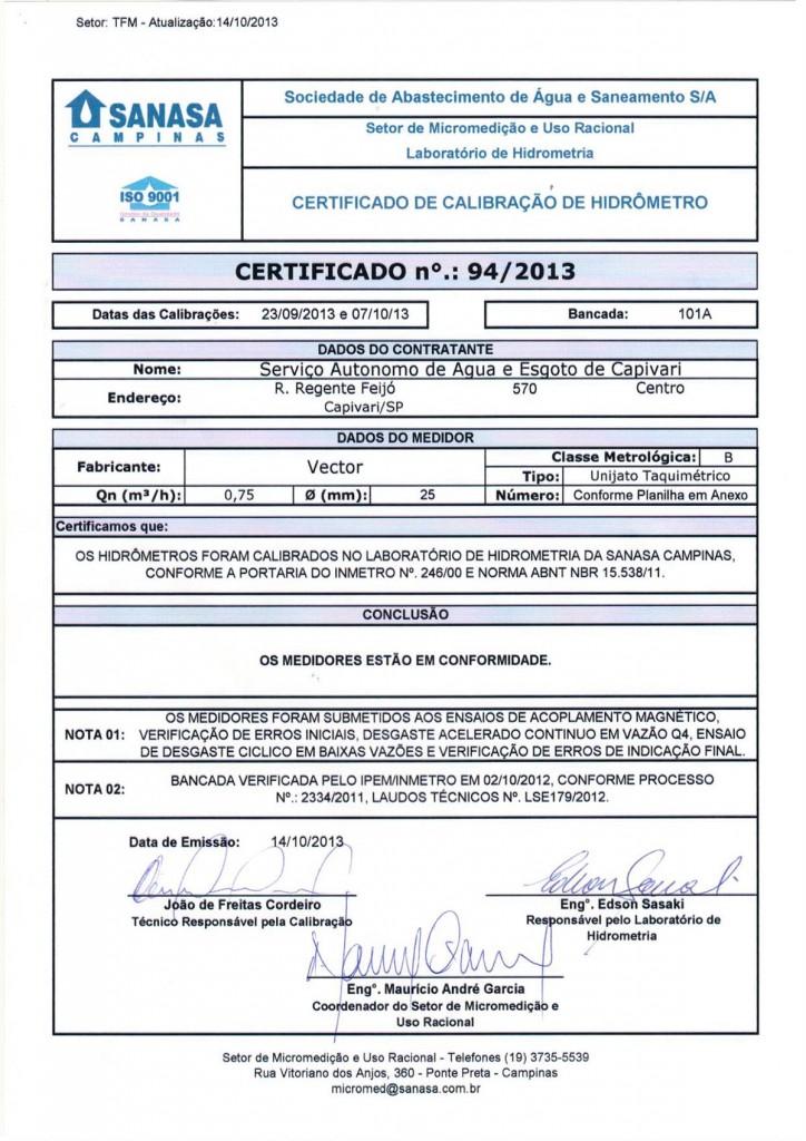 Certificado - Sanasa Campinas