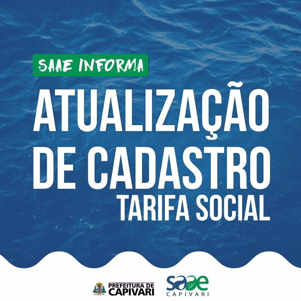 SAAE alerta a obrigatoriedade da atualização do cadastro da Tarifa Social
