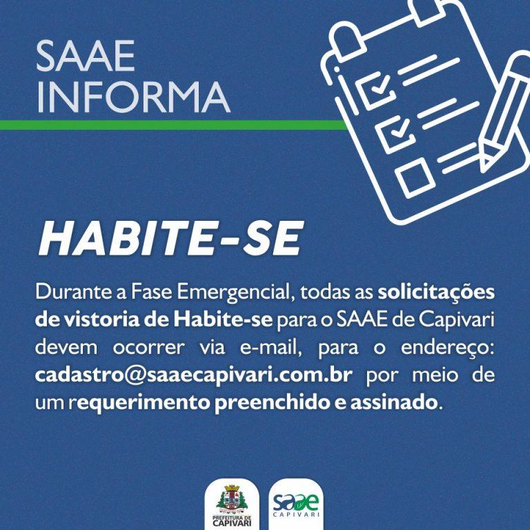 VISTORIA DE HABITE-SE PARA O SAAE DEVE SER SOLICITADA VIA E-MAIL